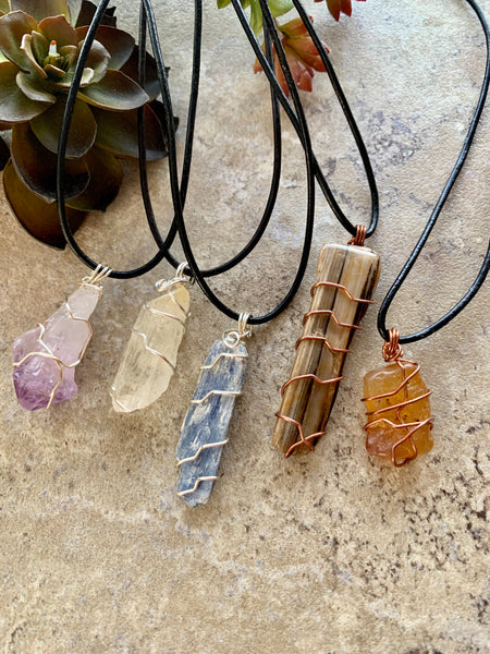 Selenite Crystal Pendant Necklace Silver