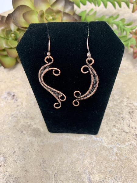 Mismatched Asymmetrical Copper Wire Earrings