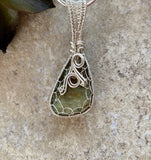 Labradorite Wire Weave Pendant Necklace Sterling Silver