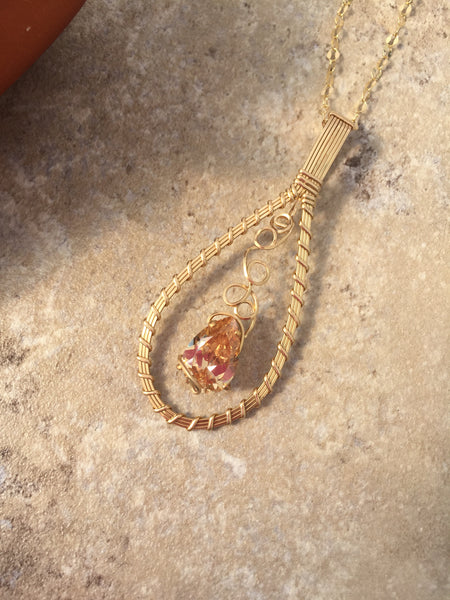 Gold Pendant Necklace, Wire Wrapped Gold Necklace - Desert Shine Designs