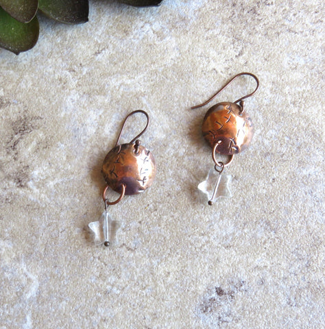 Star Earrings, Disc Earrings, Dangle Earrings, July 4th Earrings - Desert Shine Designs