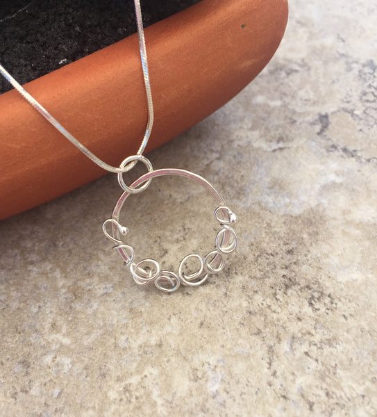Delicate Hoop Choker Necklace in Sterling Silver - Desert Shine Designs