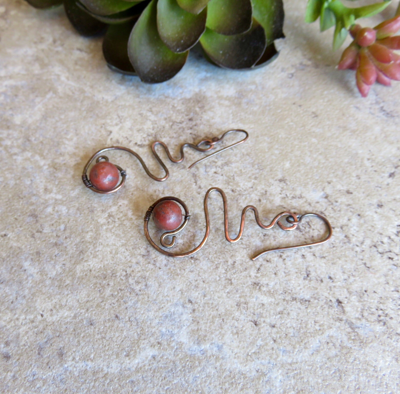 Copper Earrings, Copper Dangle Earrings, Hammered Copper Earrings - Desert Shine Designs