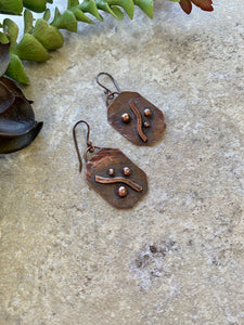 Copper Asymmetrical Earrings