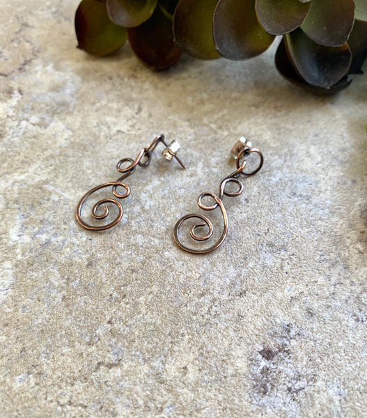 Hammered Copper Dangle Post Earrings