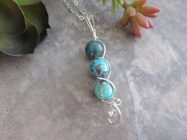 Wire Wrap Turquoise Pendant Necklace