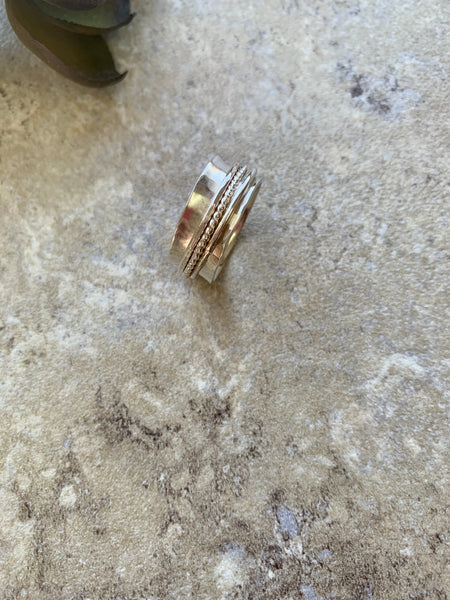 Spinner Rings for Women, Silver Spinner Ring, Gold and Silver Ring