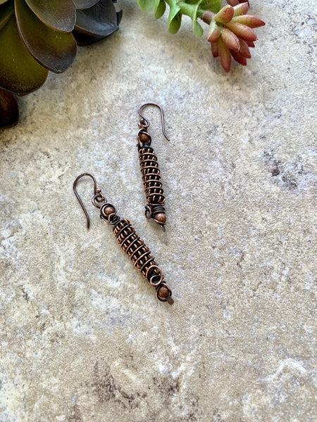Coiled Copper Earrings