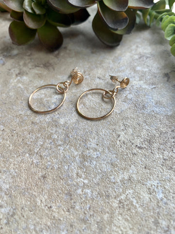 small gold post earrings - desert shine designs