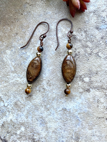Copper Brass Tiger Iron Dangle Earrings - Desert Shine Designs