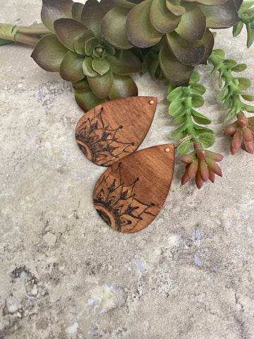 Mandala Wood Burned Teardrop Earrings Pyrography