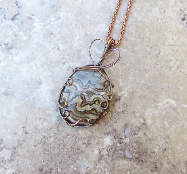 Crazy Lace Agate Pendant Necklace - Desert Shine Designs