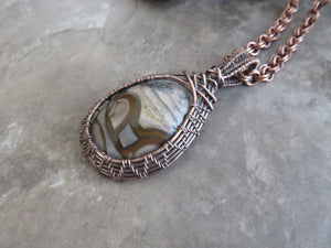 Wire Wrapped Stones, Wire Wrapped Jasper Pendant Necklace in Copper - Desert Shine Designs