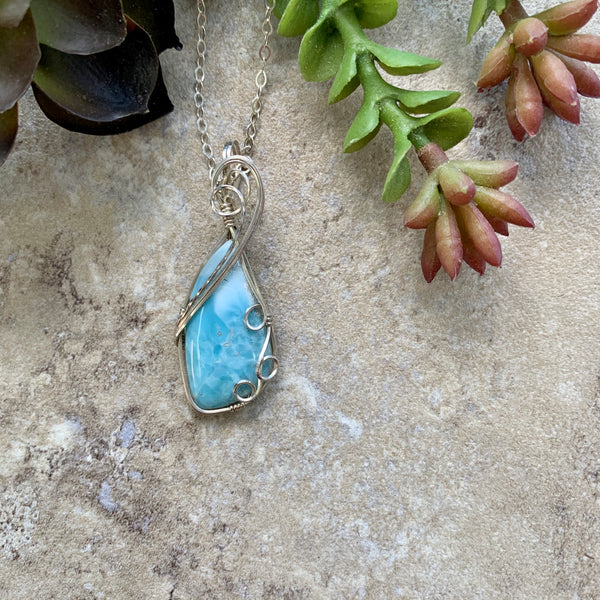 Rare Larimar Wire Wrapped Sterling Silver Pendant Necklace