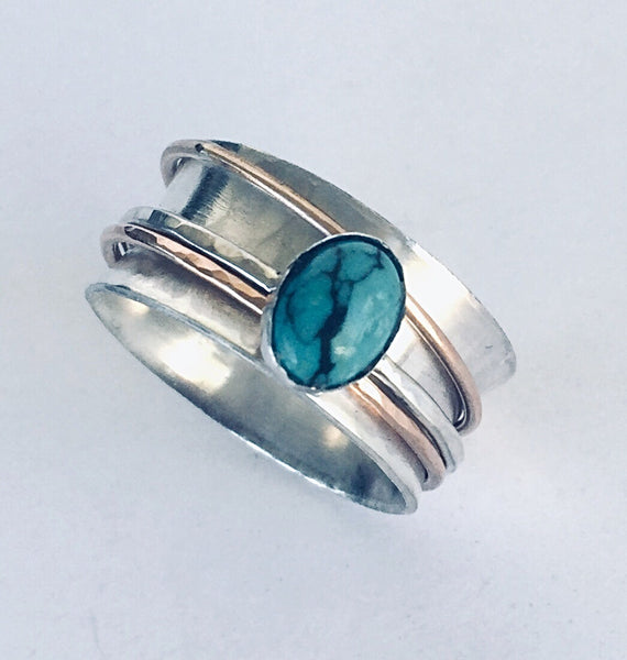 Unique Wedding Rings for Women with Turquoise Stone - Desert Shine Designs
