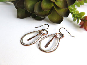 Mixed Metal Jewelry - Copper and Silver Hoop Earrings - Desert Shine Designs