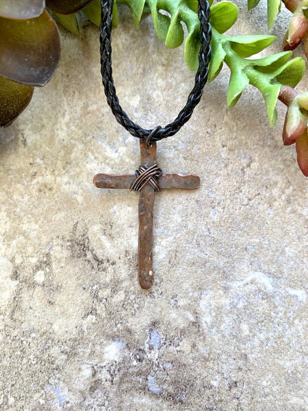 Rugged Cross Necklace Copper
