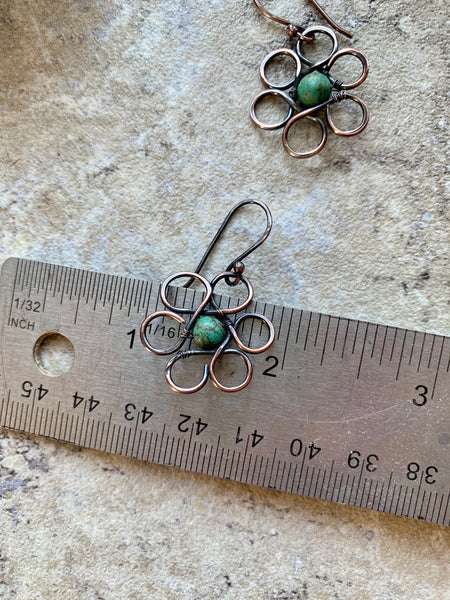 Flower and Turquoise Earrings  - Desert Shine Designs