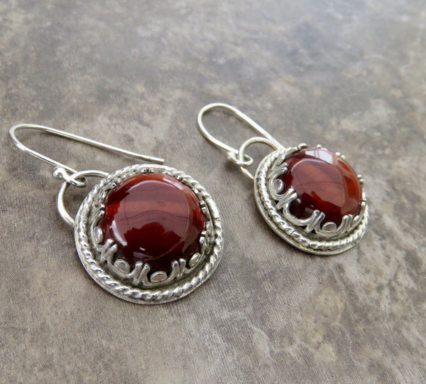 Red Tigers Eye Drop Earrings