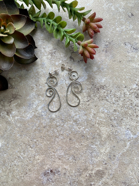 Swirled Silver Post Earrings - Desert Shine Designs