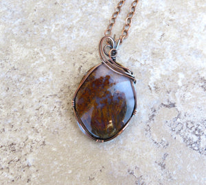 Moss Agate Pendant in Copper - Desert Shine Designs