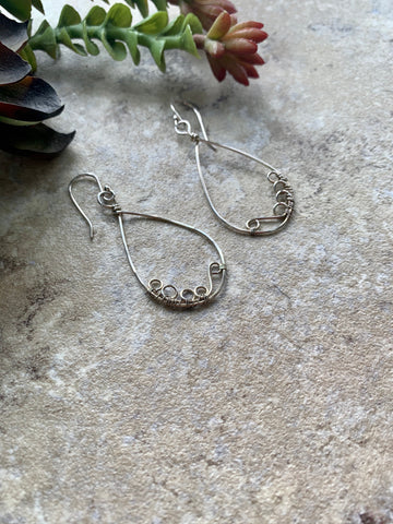 Silver Teardrop Wire Wrap Earrings