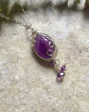 Amethyst Sterling Silver Wire Wrap Pendant