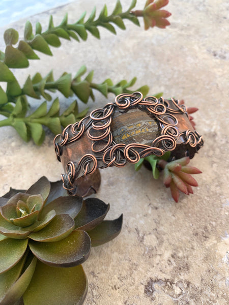 Tiger Iron Wire Wrap Copper Cuff - Desert Shine Designs