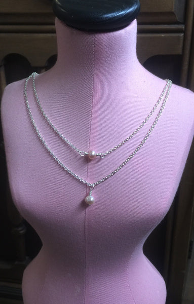 Double Necklace Freshwater Pearls Silver - Desert Shine Designs