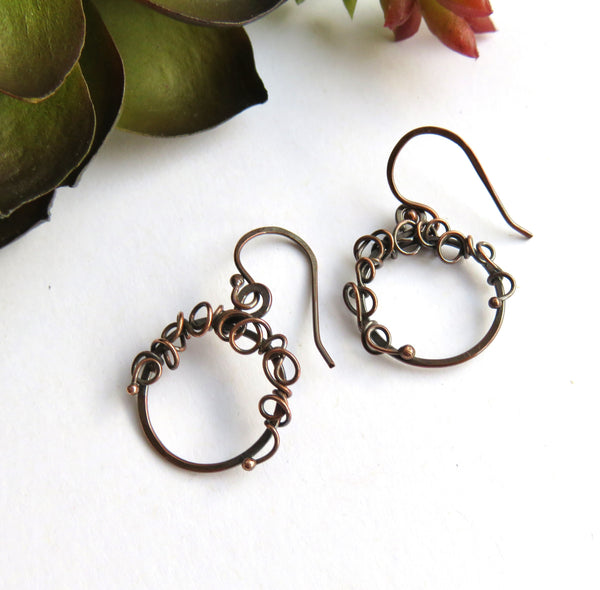 Tiny Copper Hoop Earrings - Small Copper Hoop Earrings - Antiqued Copper Earrings - Hammered Hoops