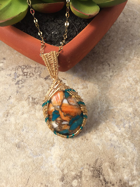 Turquoise and Spiny Oyster Gold Pendant Necklace