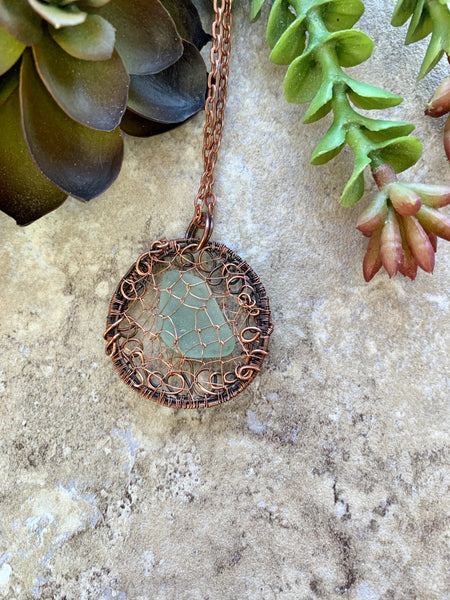 Natural Beach Glass Pendant Copper Wire Wrap