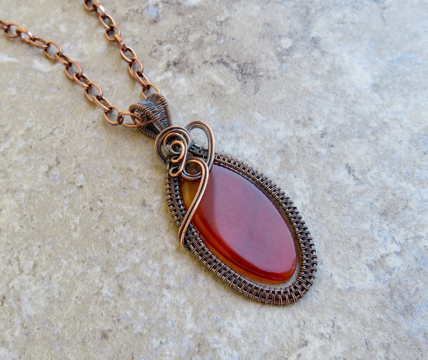 Carnelian Stone Necklace in Copper - Desert Shine Designs