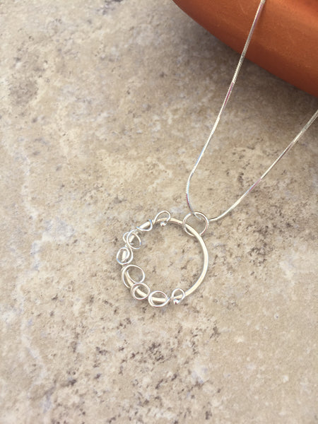 Silver Choker Necklace - Delicate Hoop Choker in Sterling Silver - Desert Shine Designs