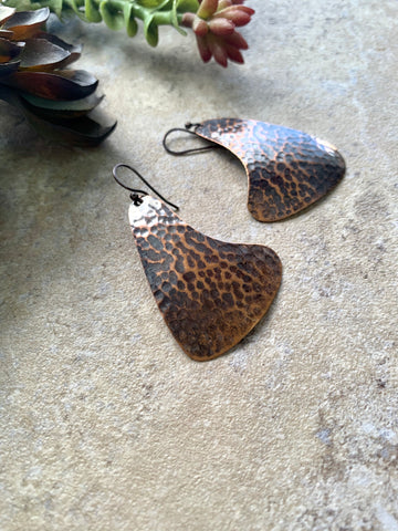 Hammered Copper Statement Earrings