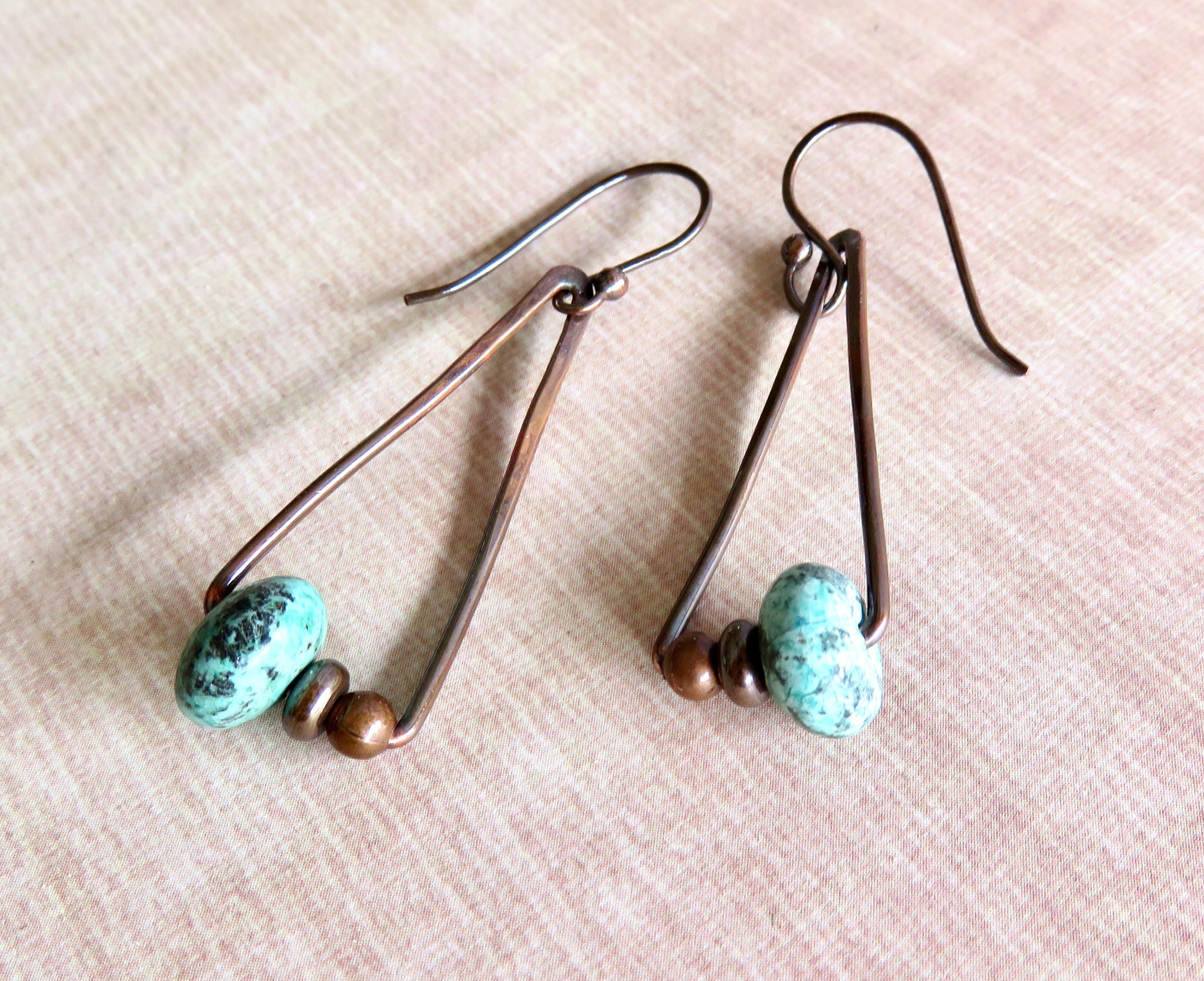 Geometric Earrings Copper and Turquoise, Copper Triangle Earrings - Desert Shine Designs