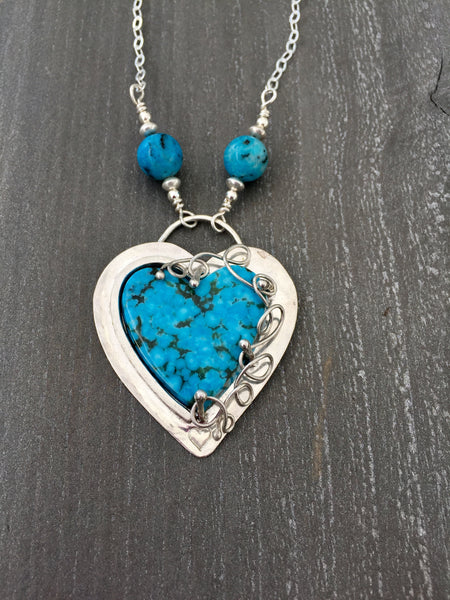 Kingman Turquoise Heart Pendant Necklace