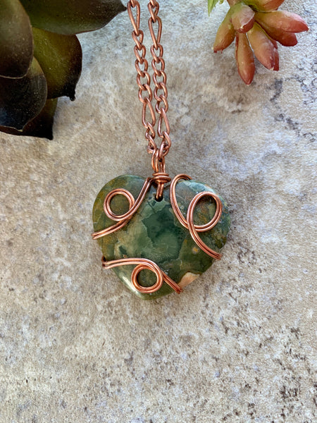 Green Jasper Heart Pendant Necklace Copper