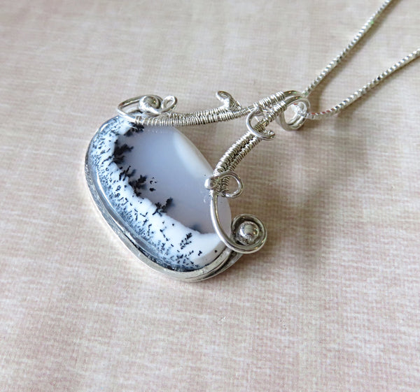 Dendritic Opal Pendant Necklace - Wire Wrap Silver - Desert Shine Designs
