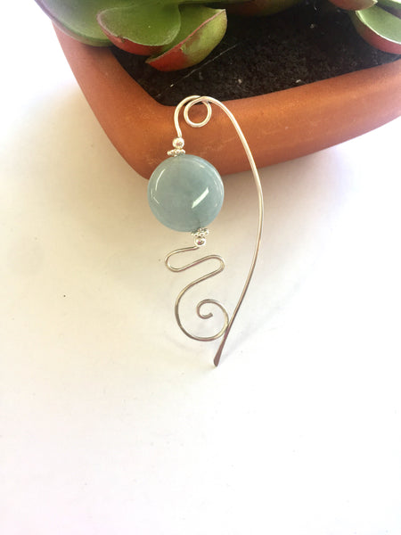 Blue Agate Sterling Silver Scarf Pin