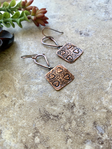 Copper Heart Stamped Dangle Earrings.