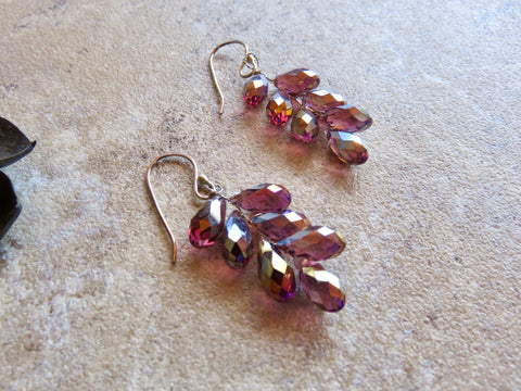 Flower Earrings, Cluster Earrings, Purple Earrings - Desert Shine Designs