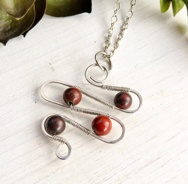 Silver Necklace Pendant - Silver Wire Necklace - Sterling Pendant Necklace - Jasper Pendant Necklace
