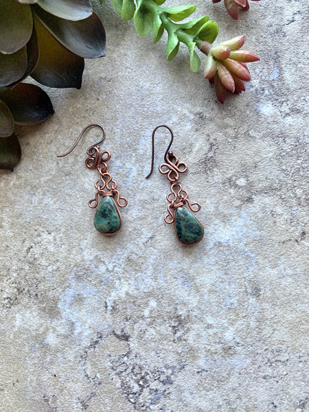 Green Jasper Wire Wrap Copper Dangle Earrings - Desert Shine Designs
