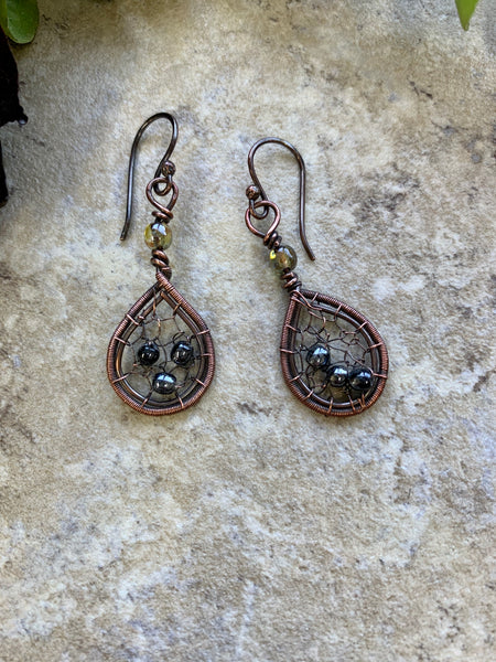 Tiny Dreamcatcher Earrings Hematite and Copper