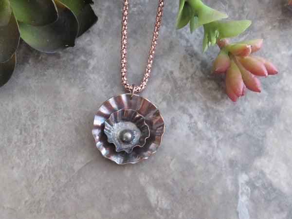 Flower Necklace in Copper - Desert Shine Designs