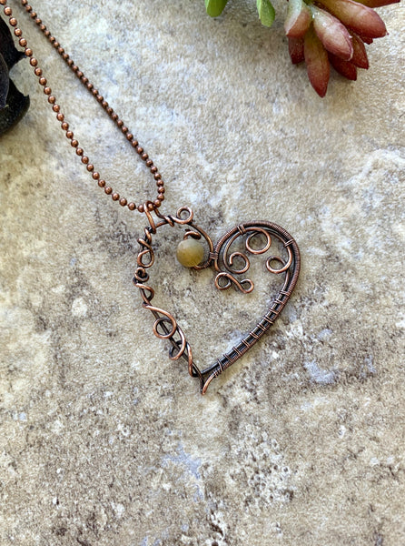 wire heart pendant