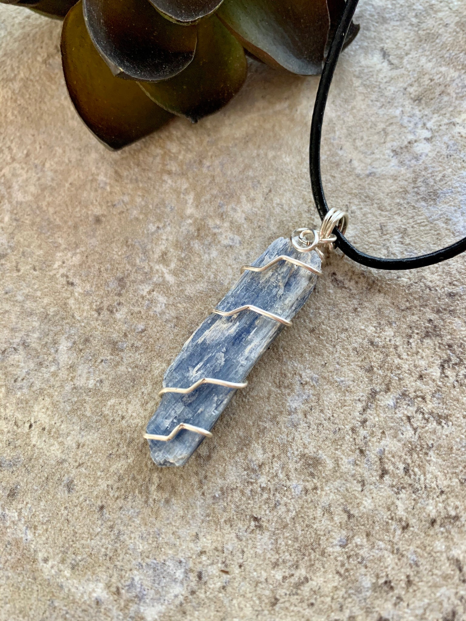 Natural Kyanite Crystal Pendant Necklace Silver.