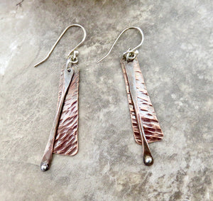 Stick Earrings, Long Mixed Metal Earrings in Copper and Silver - Desert Shine Designs