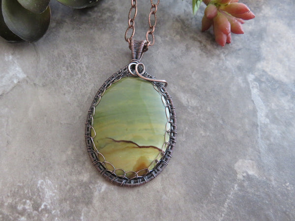 Succor Creek Picture Jasper Pendant Necklace
